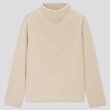 Women Knitted Fleece Mock-Neck Pullover, Natural, Medium