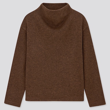 Women Knitted Fleece Mock Neck Jumper