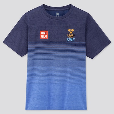 Kids Sweden Olympic DRY-EX Crew Neck Short Sleeved T-Shirt