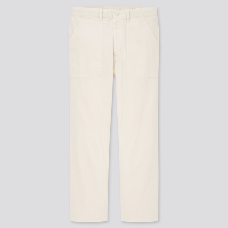 Men Straight Work Pants, Off White, Large