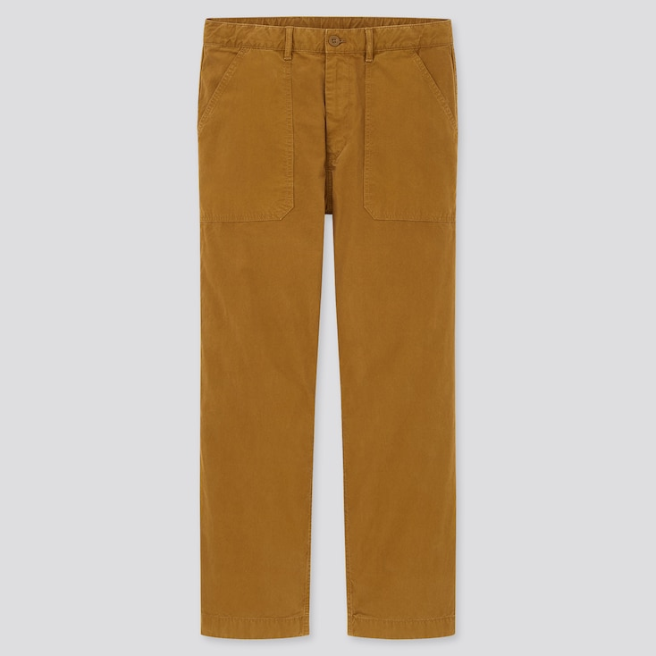Men Straight Work Pants, Brown, Large
