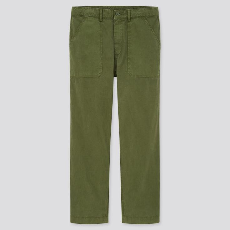 Men Straight Work Pants, Olive, Large