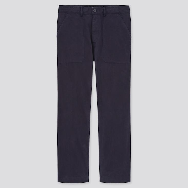 Men Straight Work Pants, Navy, Large