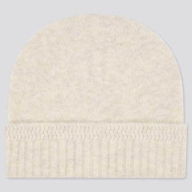 Women Souffle Yarn Knitted Beanie, Off White, Medium