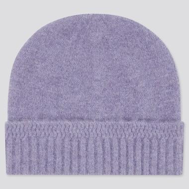 Women Souffle Yarn Knitted Beanie, Light Purple, Medium