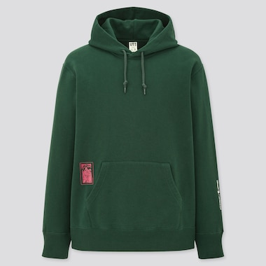 Men Jean-Michel Basquiat Warner Bros. Sweat Pullover Hoodie, Dark Green, Medium