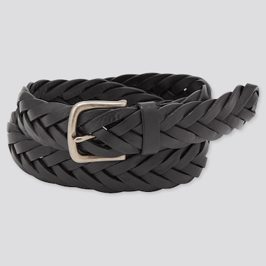 Men Leather Wide Mesh Belt (Online Exclusive), Black, Medium