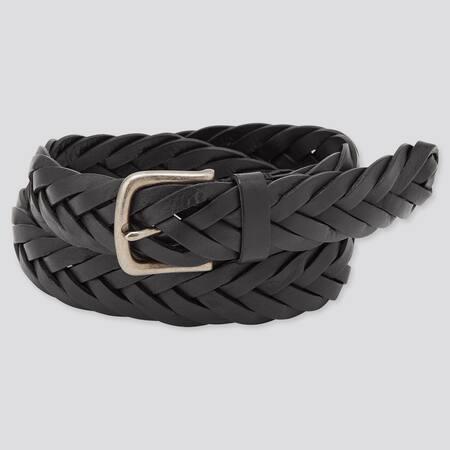 Men Leather Wide Mesh Belt