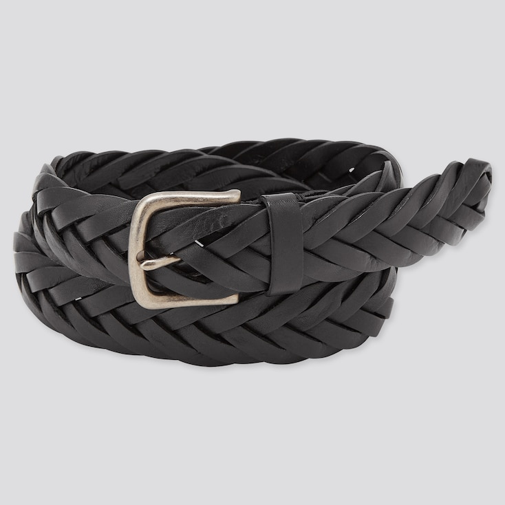 Men Leather Wide Mesh Belt (Online Exclusive), Black, Large