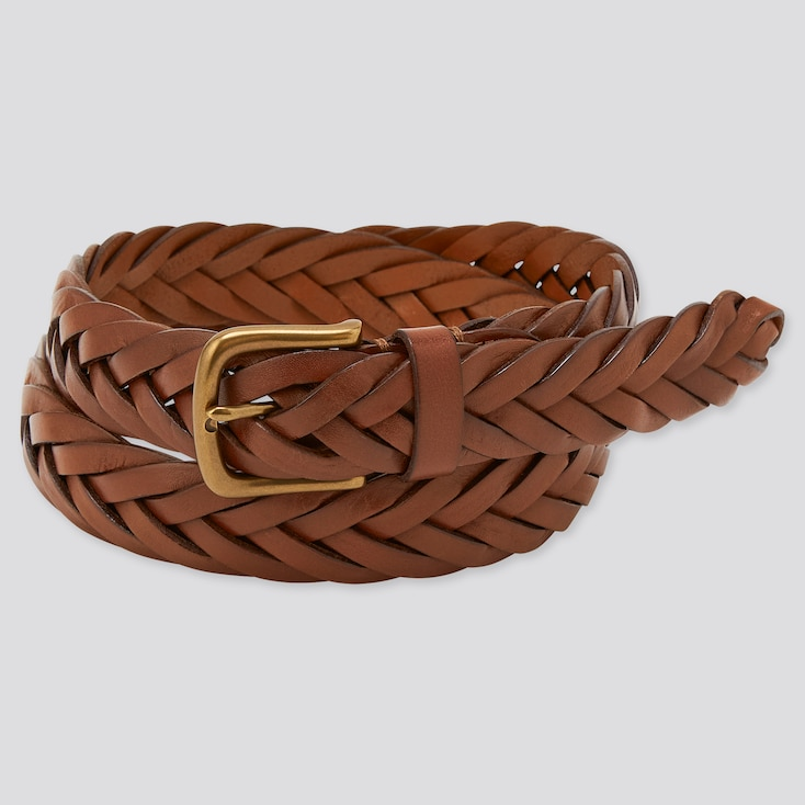 Men Leather Wide Mesh Belt (Online Exclusive), Brown, Large