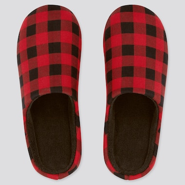 Flannel Slippers, Red, Medium