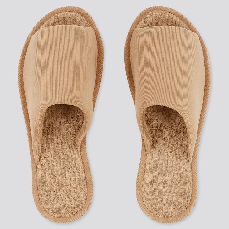 Open Toe Corduroy Slippers, Beige, Large