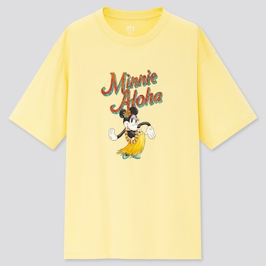 Women Mickey Aloha Ut (Short-Sleeve Graphic T-Shirt), Yellow, Medium