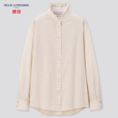 Women Cotton Frilled Stand Collar Long-Sleeve Shirt (Ines De La Fressange), Natural, Medium