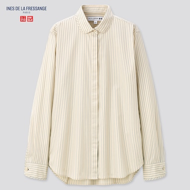 Women Cotton Twill Striped Long-Sleeve Shirt (Ines De La Fressange), Natural, Medium