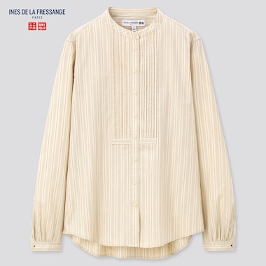 Women Cotton Twill Pintuck Striped Long-Sleeve Shirt (Ines De La Fressange), Natural, Medium