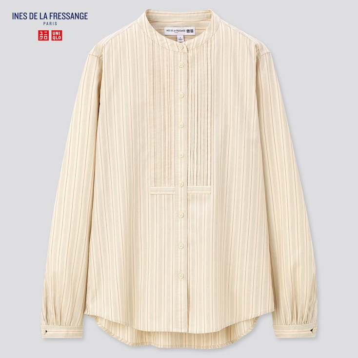 Cottagecore Clothing, Soft Aesthetic WOMEN COTTON TWILL PINTUCK STRIPED LONG-SLEEVE SHIRT (INES DE LA FRESSANGE) $39.90 AT vintagedancer.com