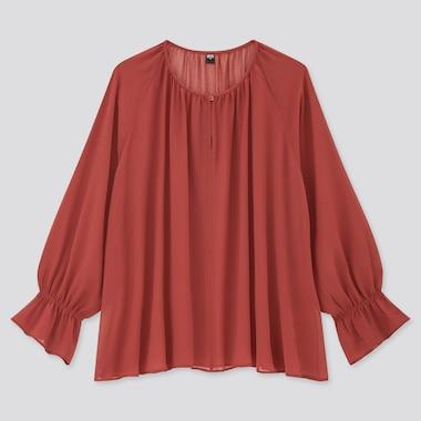 Women Chiffon 3/4 Sleeve Blouse, Red, Medium