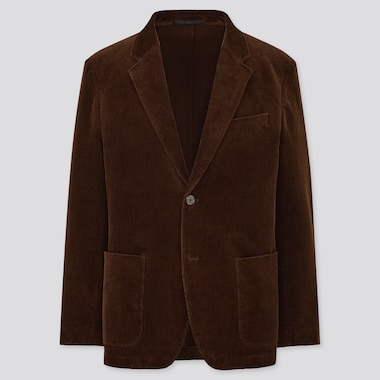 Men Corduroy Jacket, Dark Brown, Medium