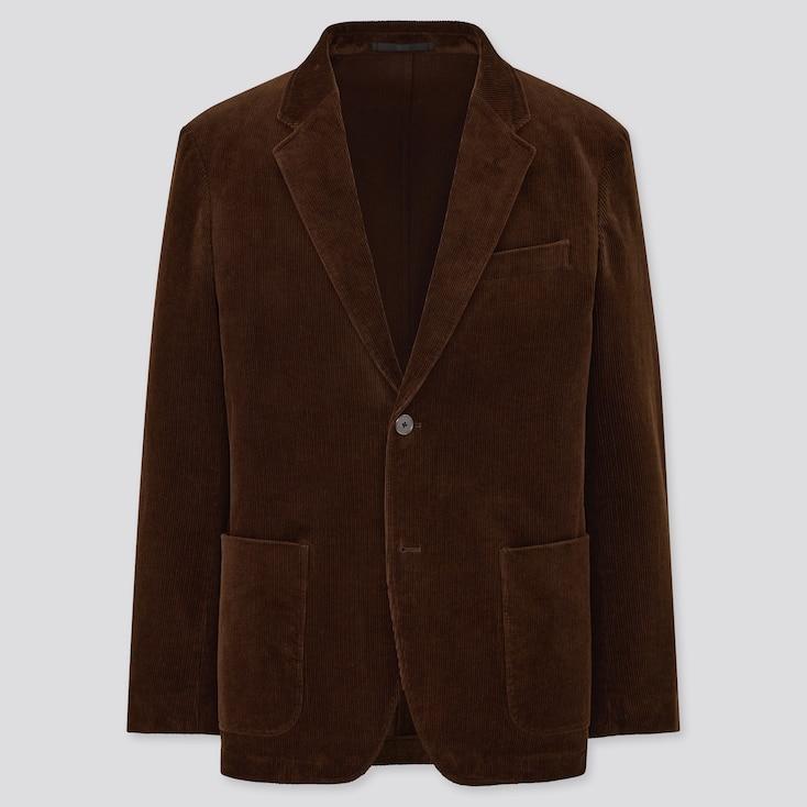 Men Corduroy Jacket, Dark Brown, Large