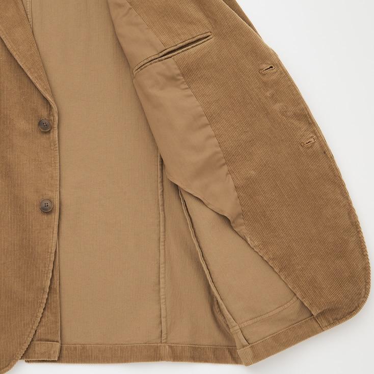 Men Corduroy Jacket, Beige, Large
