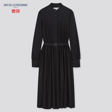 Women Ines Rayon Belted Long Sleeved Dress
