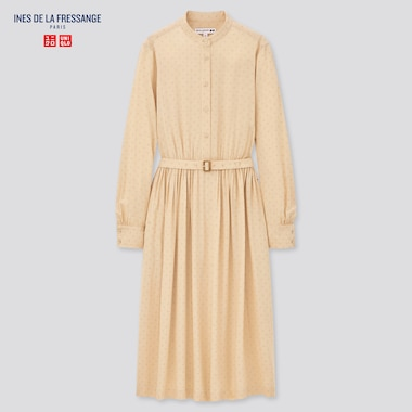 Women Printed Rayon Belted Long-Sleeve Dress (Ines De La Fressange), Beige, Medium