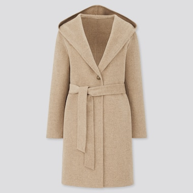 Women Double Face Hooded Coat, Beige, Medium