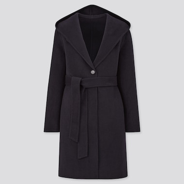 Women Double Faced Belted Hooded Coat
