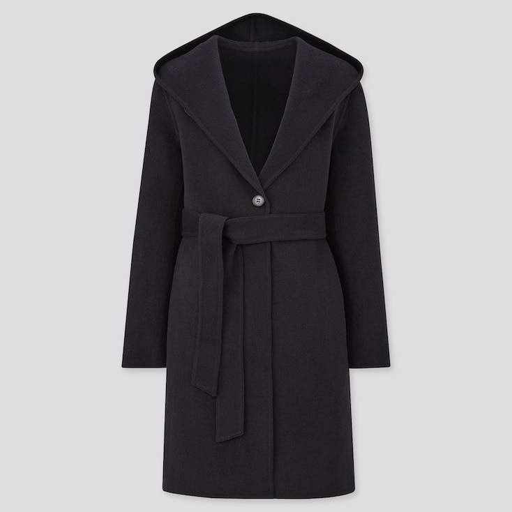 Women Double Face Hooded Coat, Navy, Large