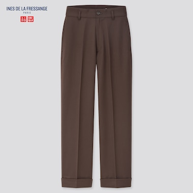 Women Wool-Blend Wide Pants (Ines De La Fressange), Dark Brown, Medium