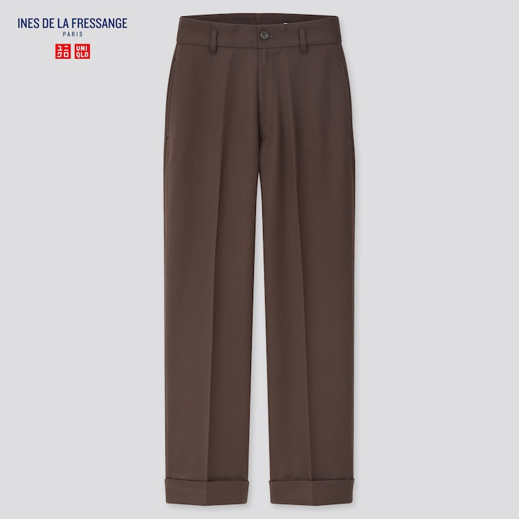 Women Wool-Blend Wide Pants (Ines De La Fressange), Dark Brown, Large