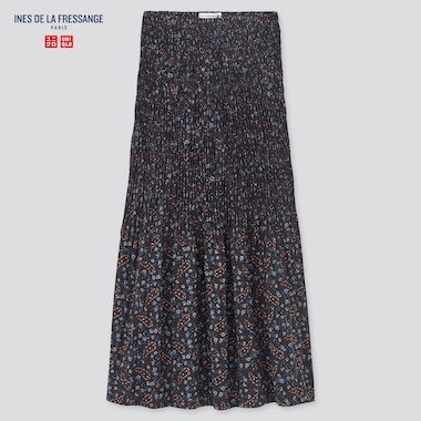 Women Twist-Pleated Long Skirt (Ines De La Fressange), Blue, Medium