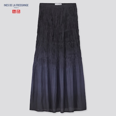 Women Twist-Pleated Long Skirt (Ines De La Fressange), Navy, Medium