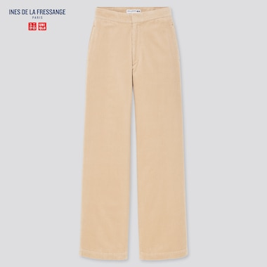 Women Corduroy Wide Pants (Ines De La Fressange), Beige, Medium