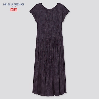 Women Satin Twist-Pleated Short-Sleeve Dress (Ines De La Fressange), Navy, Medium