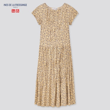 Women Twist Pleated Short-Sleeve Dress (Ines De La Fressange), Beige, Medium