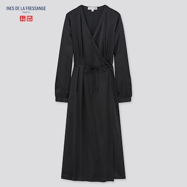 Women Ines Silk Long Sleeved Wrap Dress
