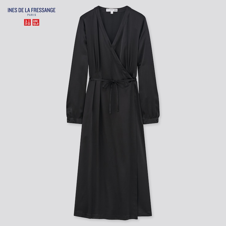 Women Silk Long-Sleeve Wrap Dress (Ines De La Fressange), Black, Large