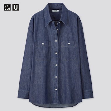 Women U Denim Oversized Long-Sleeve Shirt, Blue, Medium