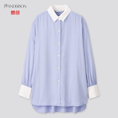 Women Rayon Striped Long-Sleeve Long Shirt (Jw Anderson), Blue, Medium