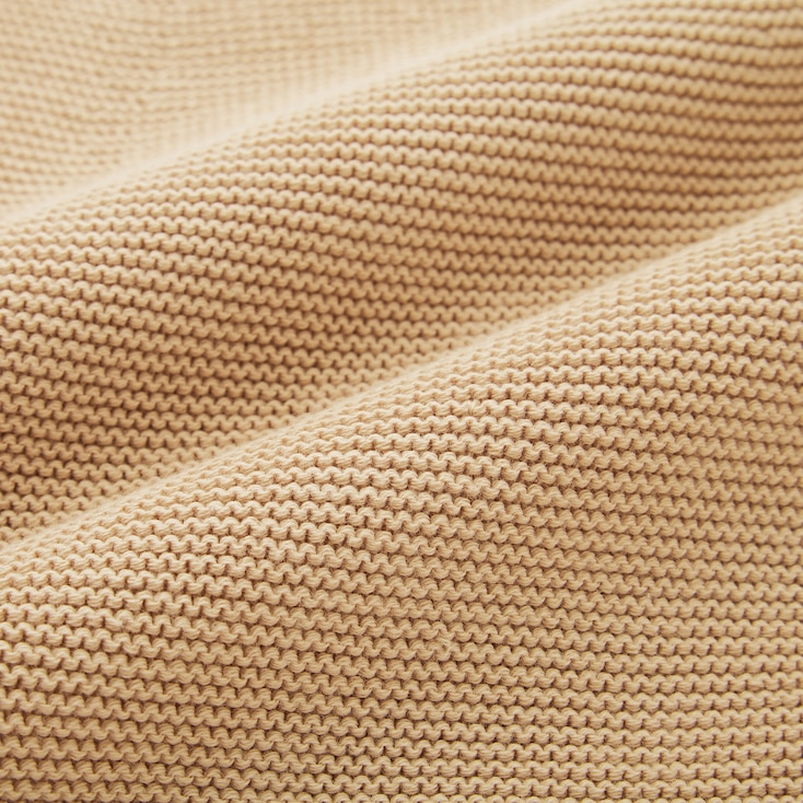 Women 3d Knit Cotton Balloon-Sleeve Sweater, Pink, Large