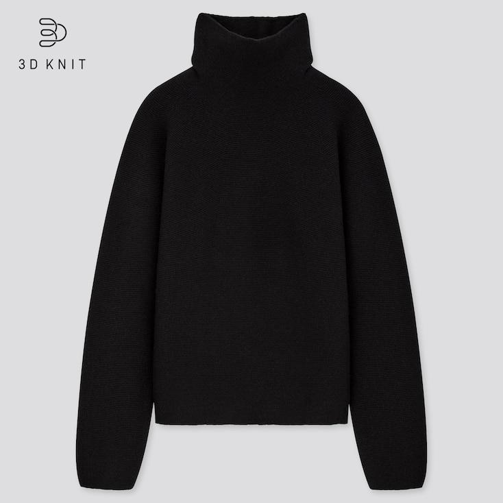 Women 3d Knit Lambswool-Blend Turtleneck Sweater, Black, Large