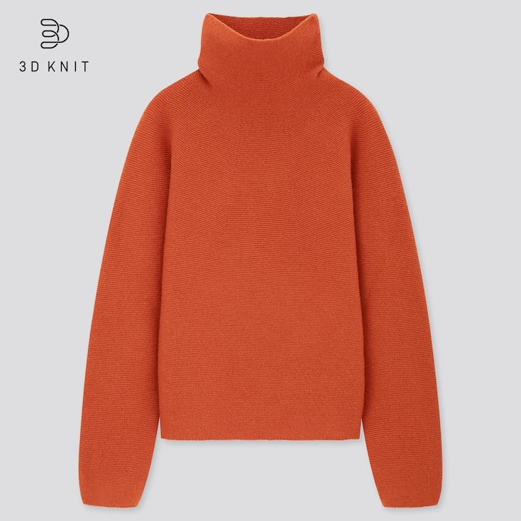 Women 3d Knit Lambswool-Blend Turtleneck Sweater, Orange, Large