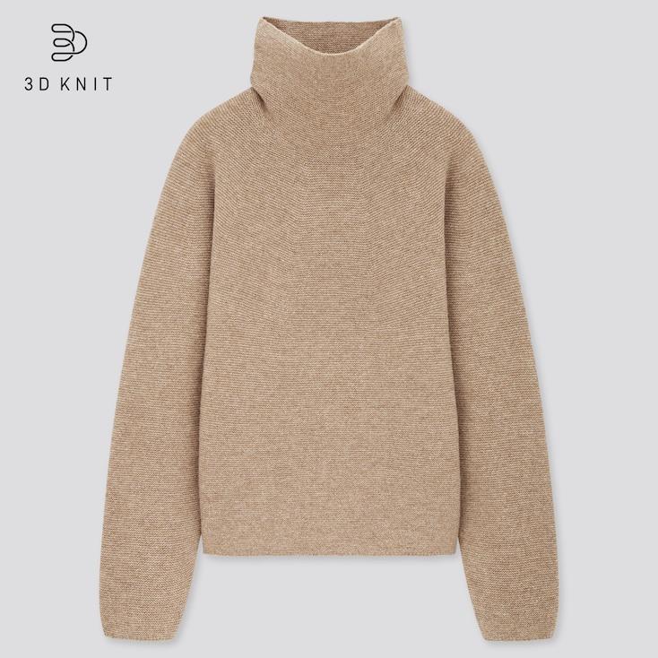Women 3d Knit Lambswool-Blend Turtleneck Sweater, Beige, Large