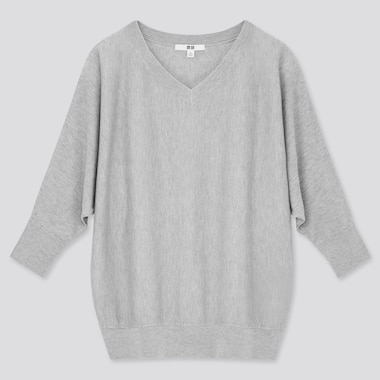 Women Rayon Silk Dolman 3/4-Sleeve Sweater, Gray, Medium