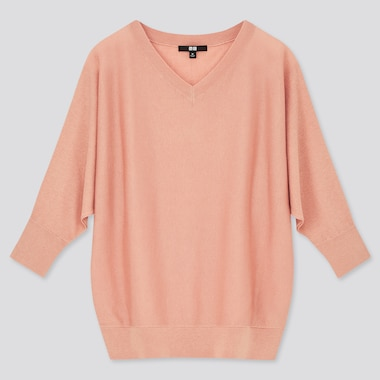 Women Lyocell Silk Dolman 3/4-Sleeve Sweater, Pink, Medium