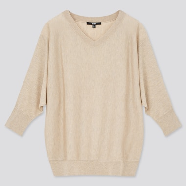 Women Lyocell Silk Dolman 3/4-Sleeve Sweater, Natural, Medium
