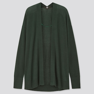 Women Rayon Silk Relaxed Cardigan, Dark Green, Medium