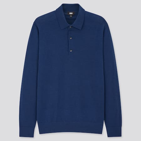 Polo 100 % Laine Mérinos Extra Fine Manches Longues Homme
